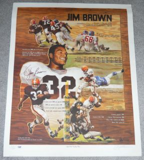 BROWNS JIM BROWN PSA DNA SIGNED AUTO POSTER 26x33 d 3200 GARY THOMAS