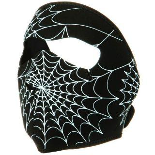 Glow in The Dark 2 N 1 Motorcycle Biker Neoprene Face Mask Spider Web