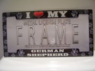 New I Love My German Shepherd License Plate Frame