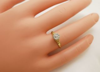 Antique Diamond & 14k Yellow Gold/Platinum Edwardian Engagement Ring