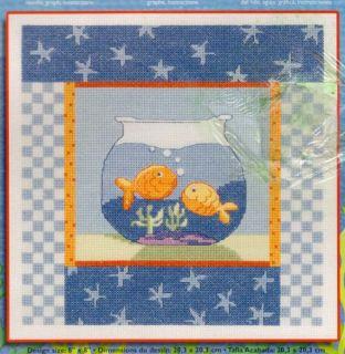 Janlynn Double Goldfish Bowl Counted Cross Stitch Kit