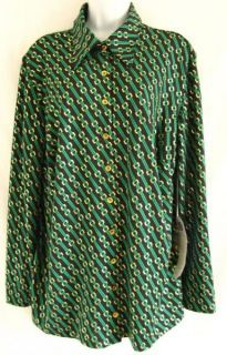 NEW DG2 BY DIANE GILMAN BLACK & GREEN WITH GOLD CHAIN LINK PRINT SHIRT