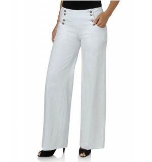 DG2 Diane Gilman Stretch Denim Sailor Jeans White Size 8