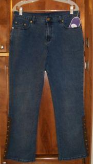 Diane Gilman DG2 Size 10P Medium Denim Boot Cut Jeans Hips 40 1 2