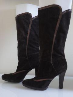 Gianni Bini Brown Suede Leather Knee High Heel Boots