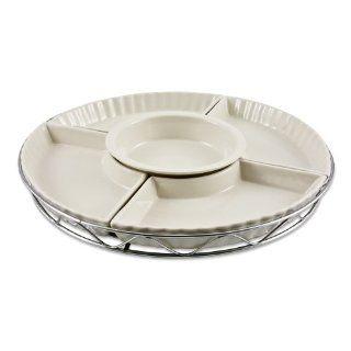 Godinger Ceramic Lazy Susan   5 Section Porcelain with Silver Finish