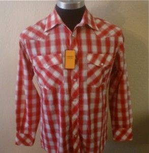 Red White Long Sleeve Plaid Pearl Snap Rockabilly Cowboy Western Shirt