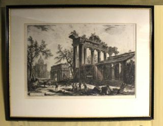 Lg Antique 18thC Giovanni Battista Piranesi Italy Etching, Temple