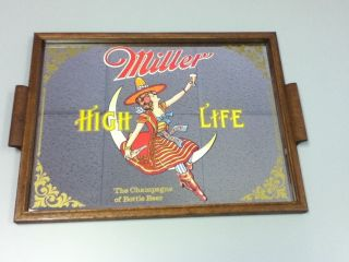 EE5 Miller Beer Sign Mirror High Life Girl in The Moon Bar Tavern Pub