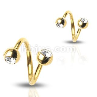 Gold Plated Gem Twist Belly Navel Rings Body Jewelry