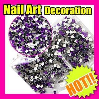 Hot Purple Flowers Decoration Wheel Nail Art Gift FreeShip S268
