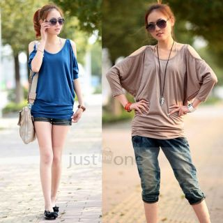 Womens Girls Sexy Open Shoulder Batwing Sleeve Loose Casual Tops