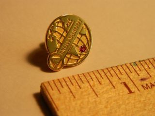 Brown Root Logo Gold Plated Round Lapel Pin with Red Stone and Backing