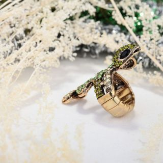 Gold Plated Rhinestone Pave Long Snake Stretch Cocktail Ring Green