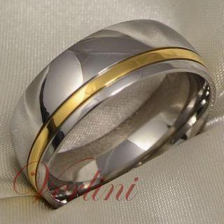 8MM Titanium Wedding Band 14k Gold Ring His & Her Mens & Womens Bridal