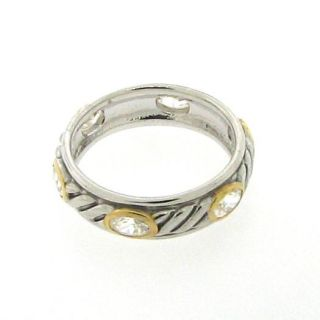 Sterling Silver 925 and Gold Plated Clear CZ Rope Ring