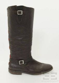 Golden GOOSE Deluxe Brand Dark Brown Leather Red Zipper Boots Size 38