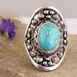 Turquoise Gemstone Bead Tibet Silver Adjustable Ring 8