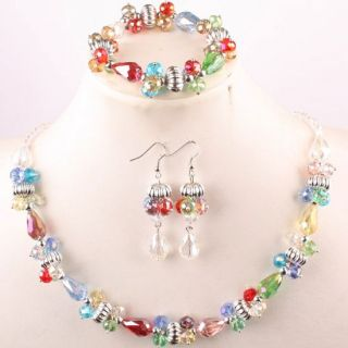 Multicolor Crystal Glass Faceted Bead Necklace Bracelet Earrings 1 Set