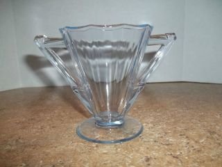 Decagon Blue Glass Sugar Bowl Art Deco Replacement Collectible