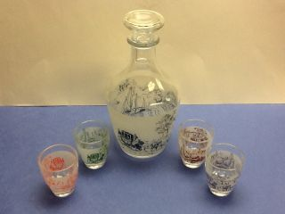MINI GLASS COLLECTIBLE DECANTER STOPPER SHOT GLASSES SAKI SET LOT