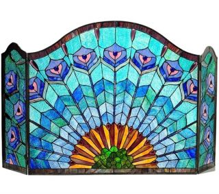 28 Tiffany Style Stained Glass Peacock Style Fireplace Screen