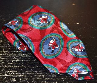 Santa Claus Red Tie with Green Blue Medallions Golf USA Made
