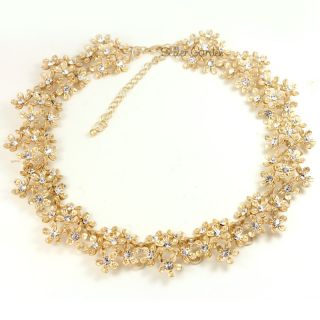 Gold GP Swarovski Crystal Flowers Bib Choker Necklace N750