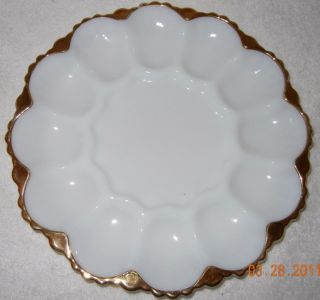 Fire King Milk White Glass Gold Edge Deviled Egg Platter Measures 10