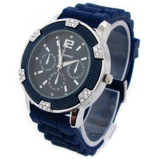 New Navy Silver Geneva Silicone Rubber Chronograph Designer Watch with