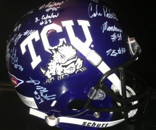 2012 Texas TCU Horned Frogs team signed Football Helmet  CERTIFICATE