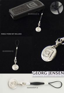georg jensen silver mobile charm with gj logo