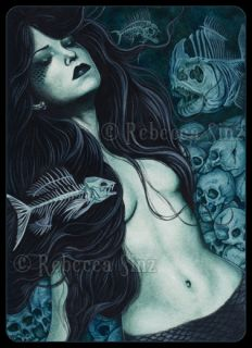 Gothic Fantasy Art ACEO Print Mermaid Skulls Fish Skeletons Dark Death
