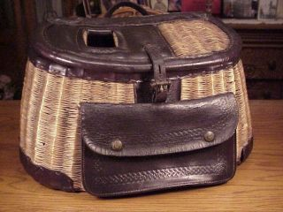 GEORGE LAWRENCE TILLAMOOK MODEL 5AP LEATHERED SPLIT WILLOW BASKET