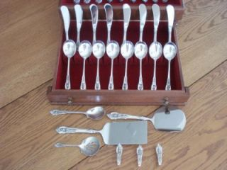 Fantastic Wallace Rose Point Sterling Flatware Set Full Service for 8