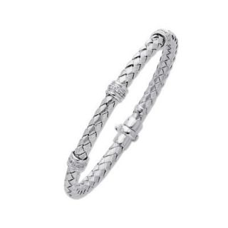 14k Solid White Gold Diamond Bangle Bracelet New