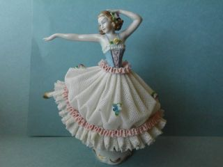 Beautiful Antique SITZENDORF Dresden Lace Porcelain Lady Figurine