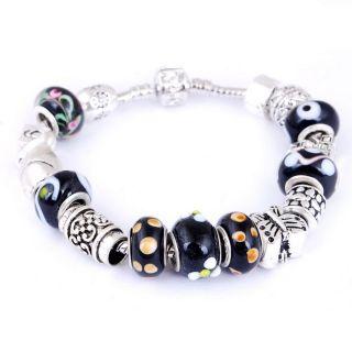 Free Handicraft Black Glass Metal Spacer Beads Bracelet