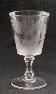 Antique Lion Etched Glass Goblet