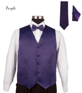 Mens Tuxedo 4 Pieces Vest, Bow Tie, Handkerchief, and Tie Solid