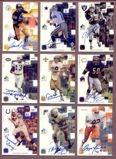 1999 SP Signature Autographs Near Set Lot Aikman Stabler