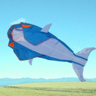 Lets Go Fly A Kite 3D Big Whale Dolphin Frameless Parafoil Kite Toy