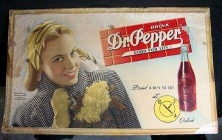 1940s Dr Pepper Good for Life Advertising Sign w Madelon Mason