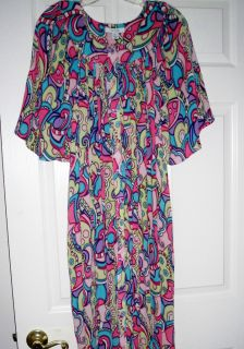 Go Softly Patio House Dress Sz Xl 100 Cotton Denim Duster 64