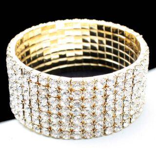 Gold 7 Row Crystal Rhinestone Party Prom Wedding Women Bracelet Bangle