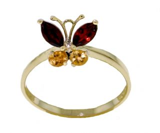 Natural Garnet Citrine Butterfly Ring 14k Yellow Gold