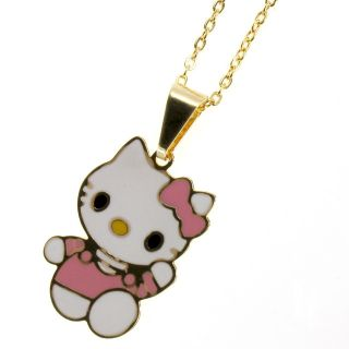 Gold 18K GF Pink Enamel Kitten Cat Hello Kitty Girl Kids Charm Chain