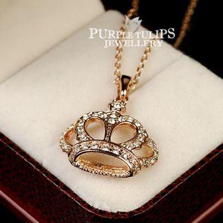 18CT Rose Gold GP Sparkling Crown Pendant Necklace W Clear SWAROVSKI