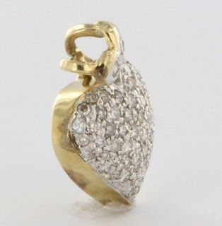 Yellow Gold Diamond Heart Pendant Fine Estate Jewelry Pre Owned