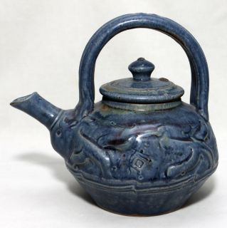 Exceptional Vtg John Glick Plum Tree Pottery Teapot Blue Glazes Signed